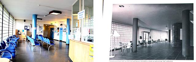 今の待合室の様子と、創設当時の待合室の様子。