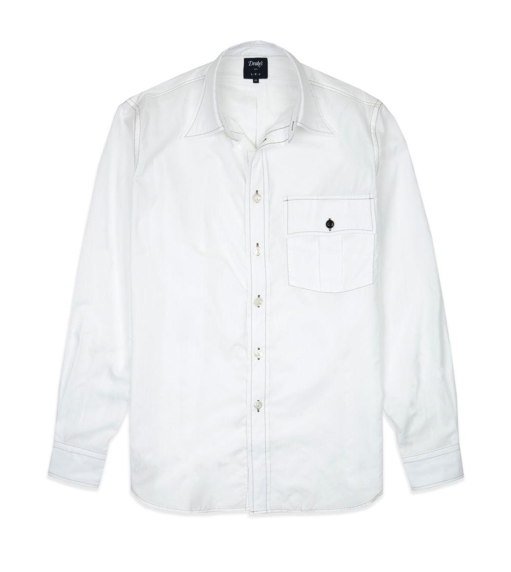 ホワイトコットンワークシャツ
