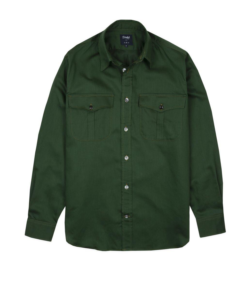 グリーンコットンリネンワークシャツ