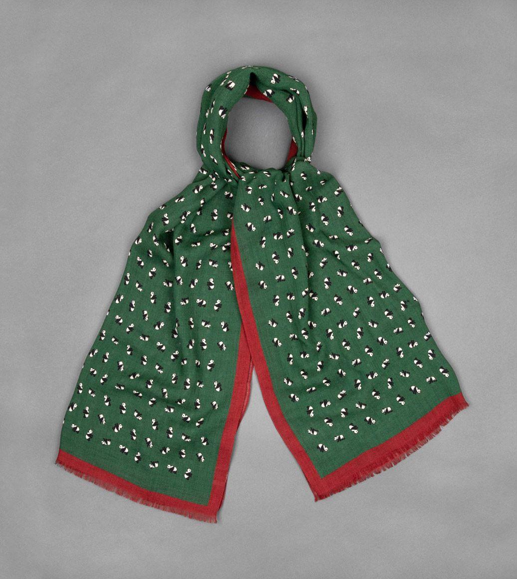 グリーンウールパンダスカーフ