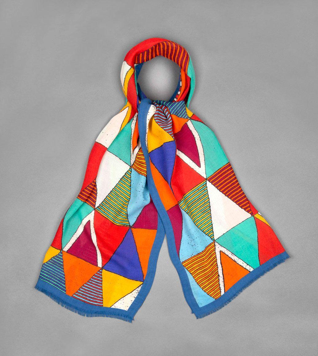 ブルートライアングルウールスカーフ
