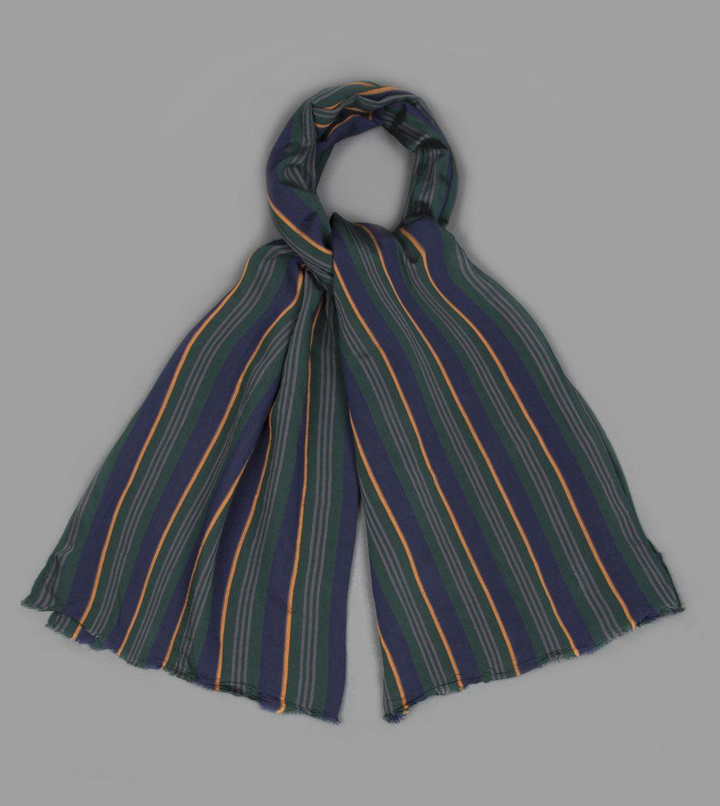 グリーンレジメンタルストライプスカーフ