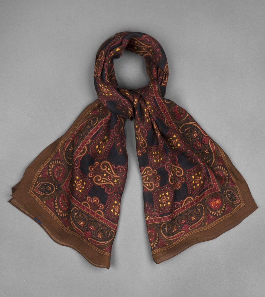 ブラウンペイズリープリントウールシルクスカーフ