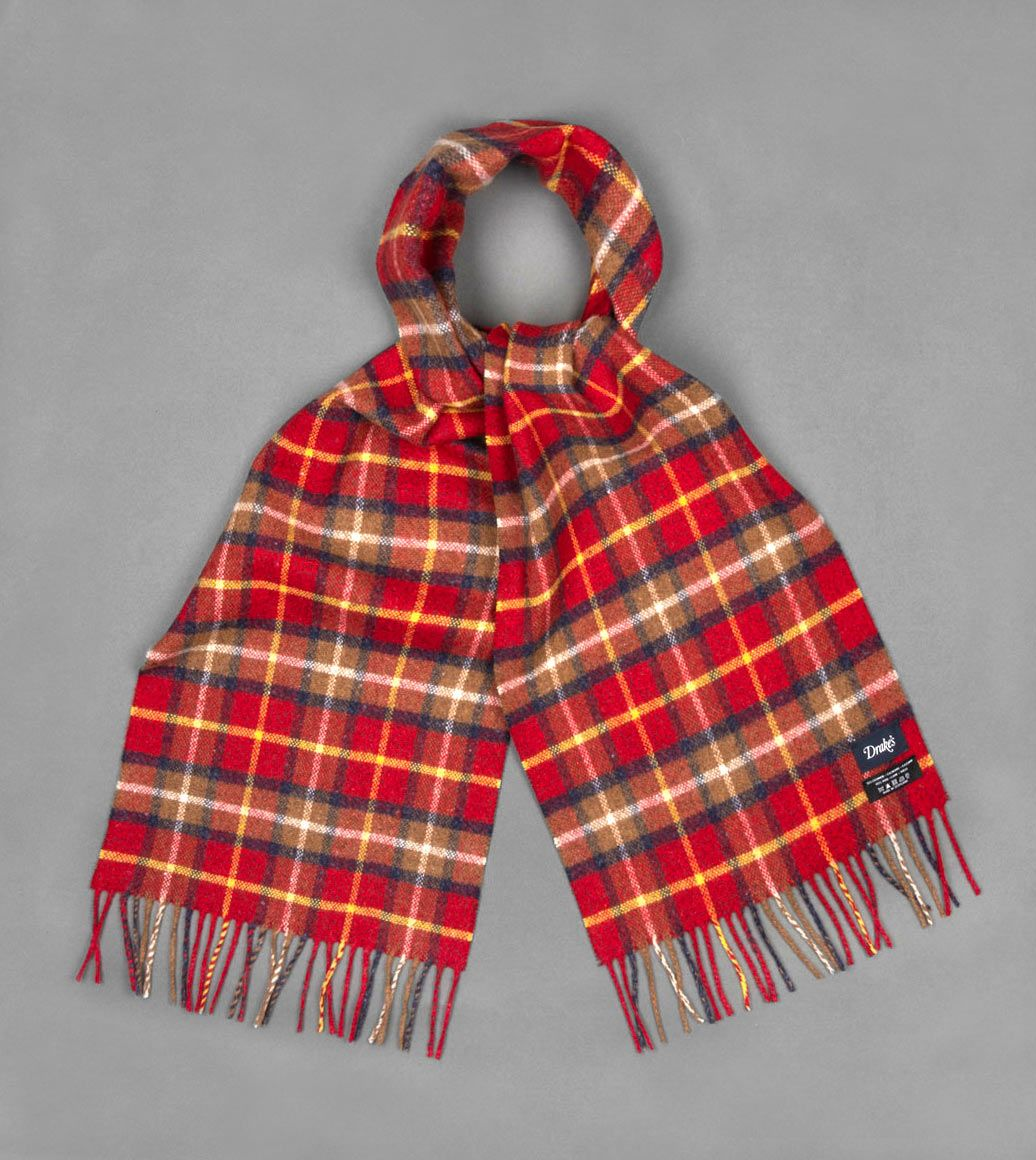 レッドヴィンテージチェックカシミアウールスカーフ