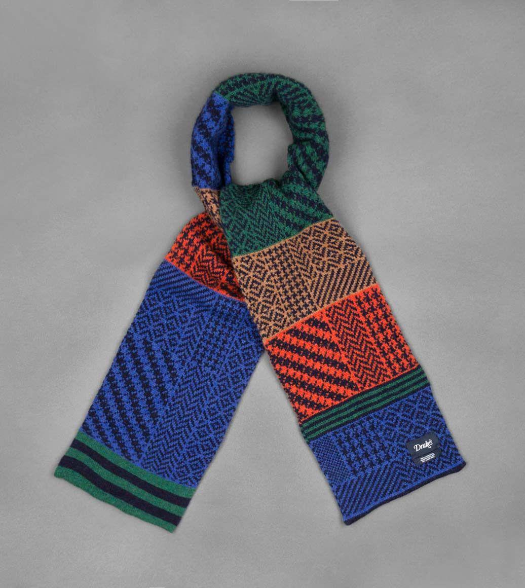 ネイビーフェアアイルブロックチェックラムズウールスカーフ