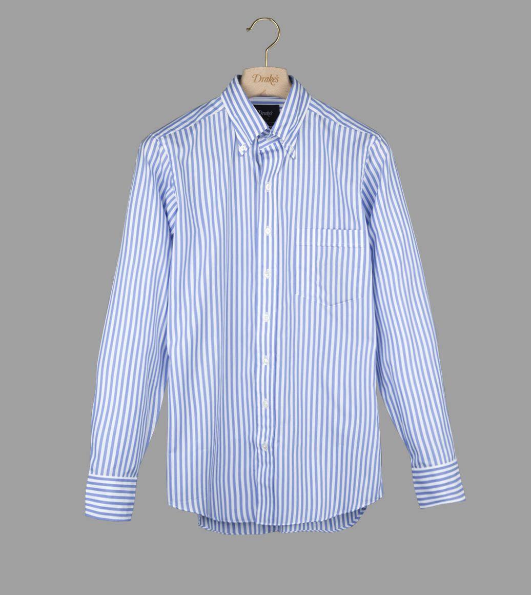 ブルーストライプボプリンB.Dシャツ
