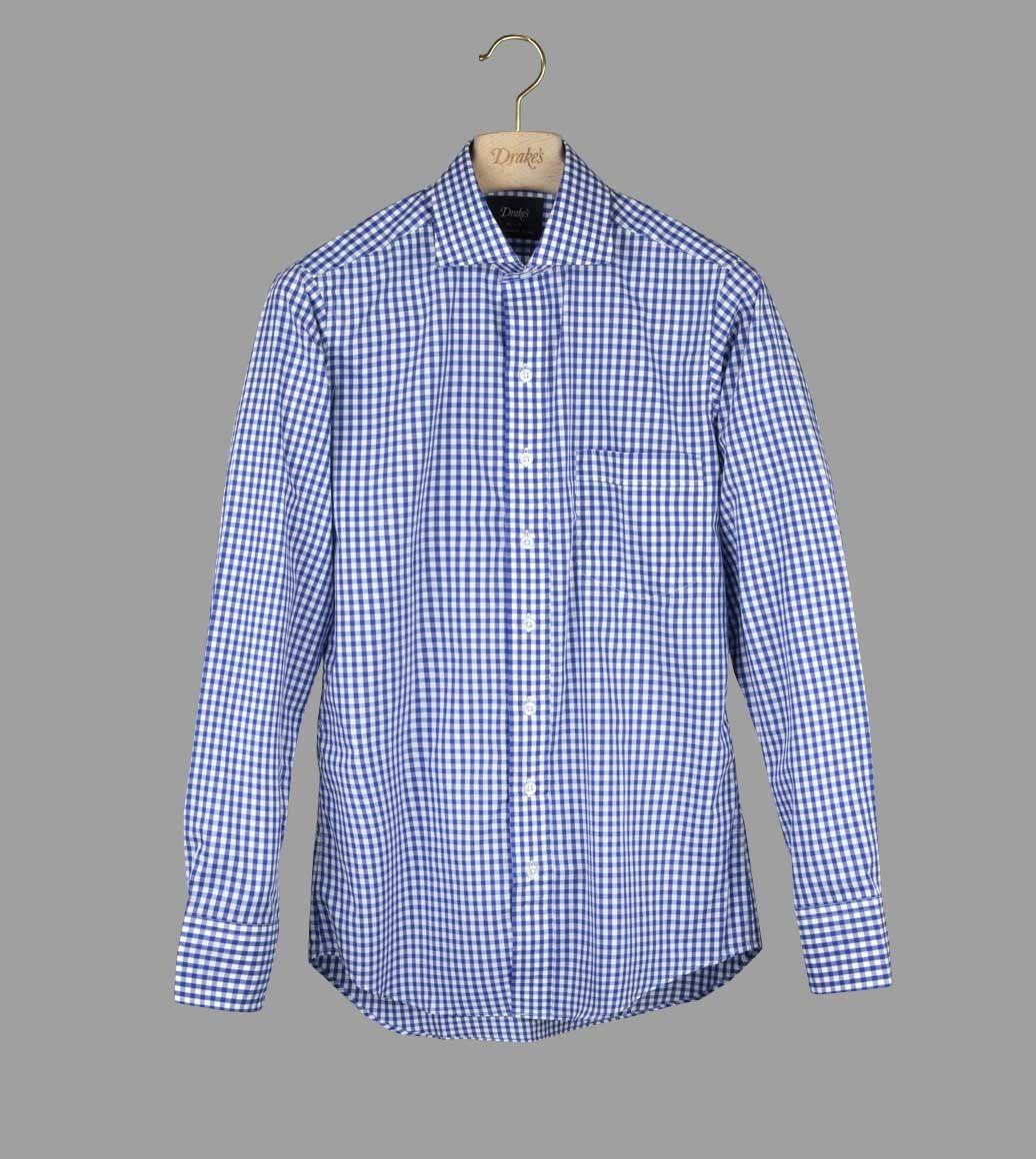 ネイビーギンガムスプレッドシャツ