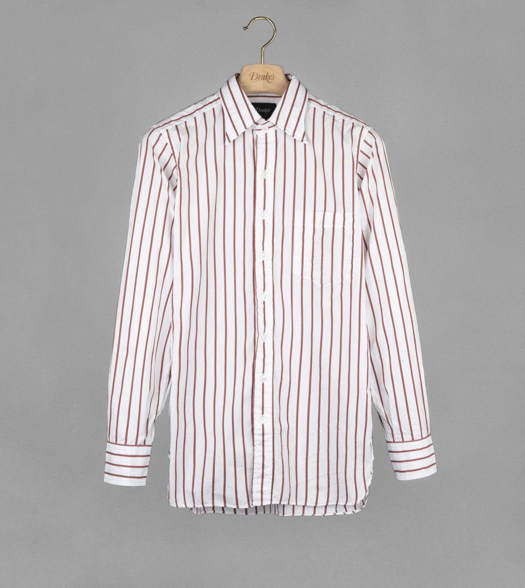 レッドストライプポイントシャツ