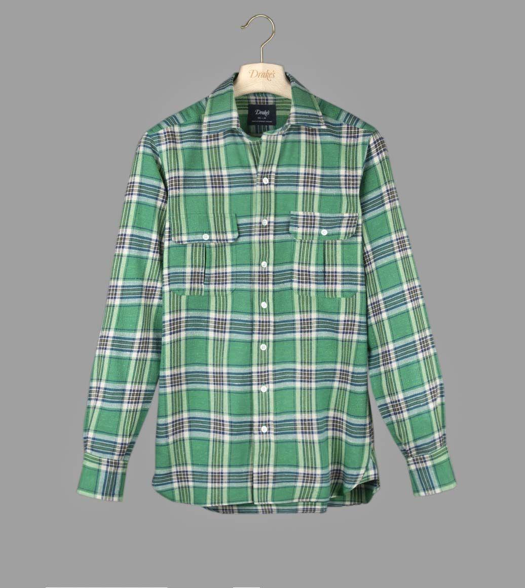 グリーンチェックフランネルワークシャツ