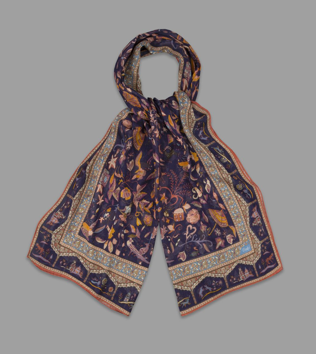 Navy Classic Mughal Print Cotton-Modal-Cashmere Scarf