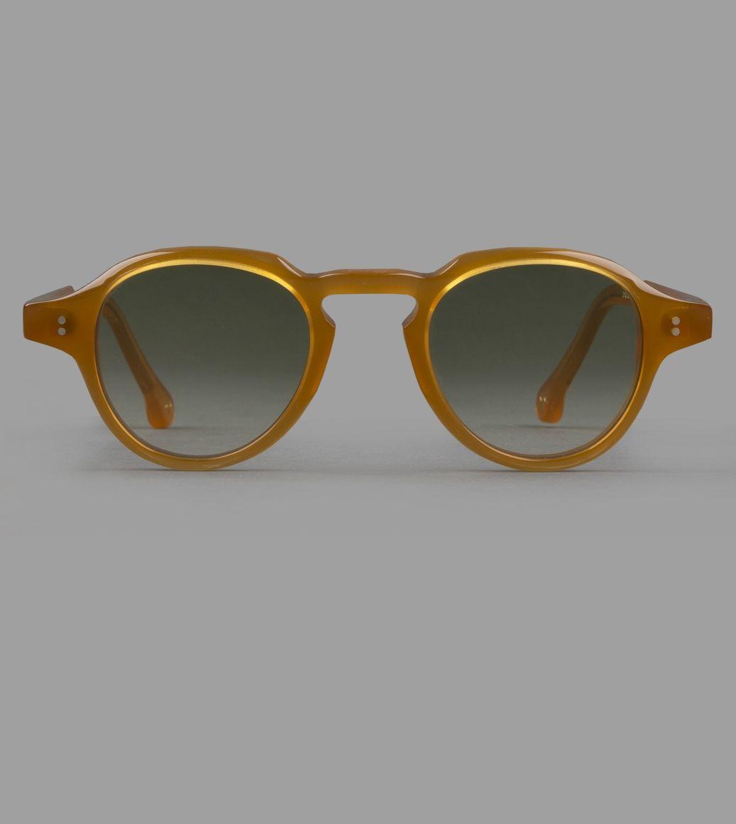 Milky Amber Keyhole Bridge Panto Sunglasses
