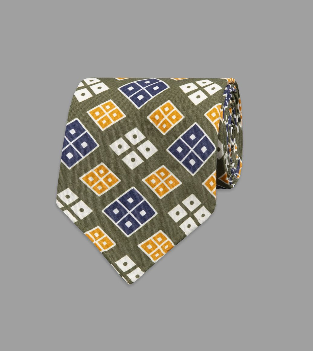 Khaki Rhombus Print Shappe Silk Tie