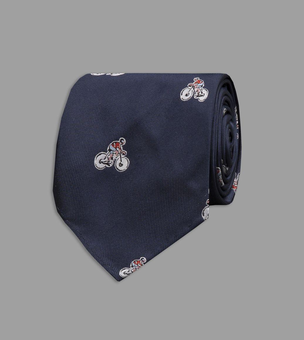 Navy Cyclist Motif Silk Tie