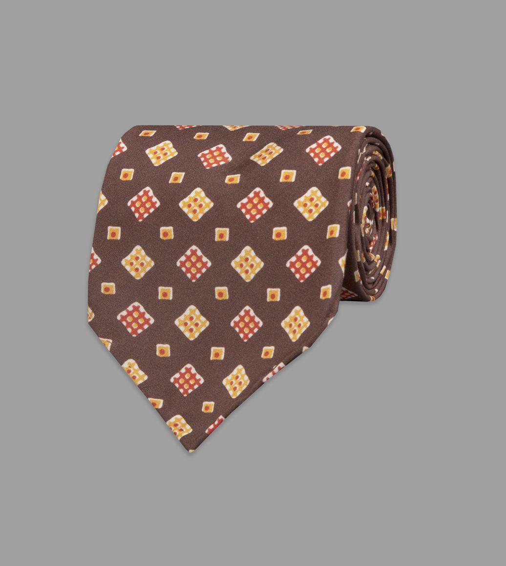 Brown Waffle Square Print Silk Tie