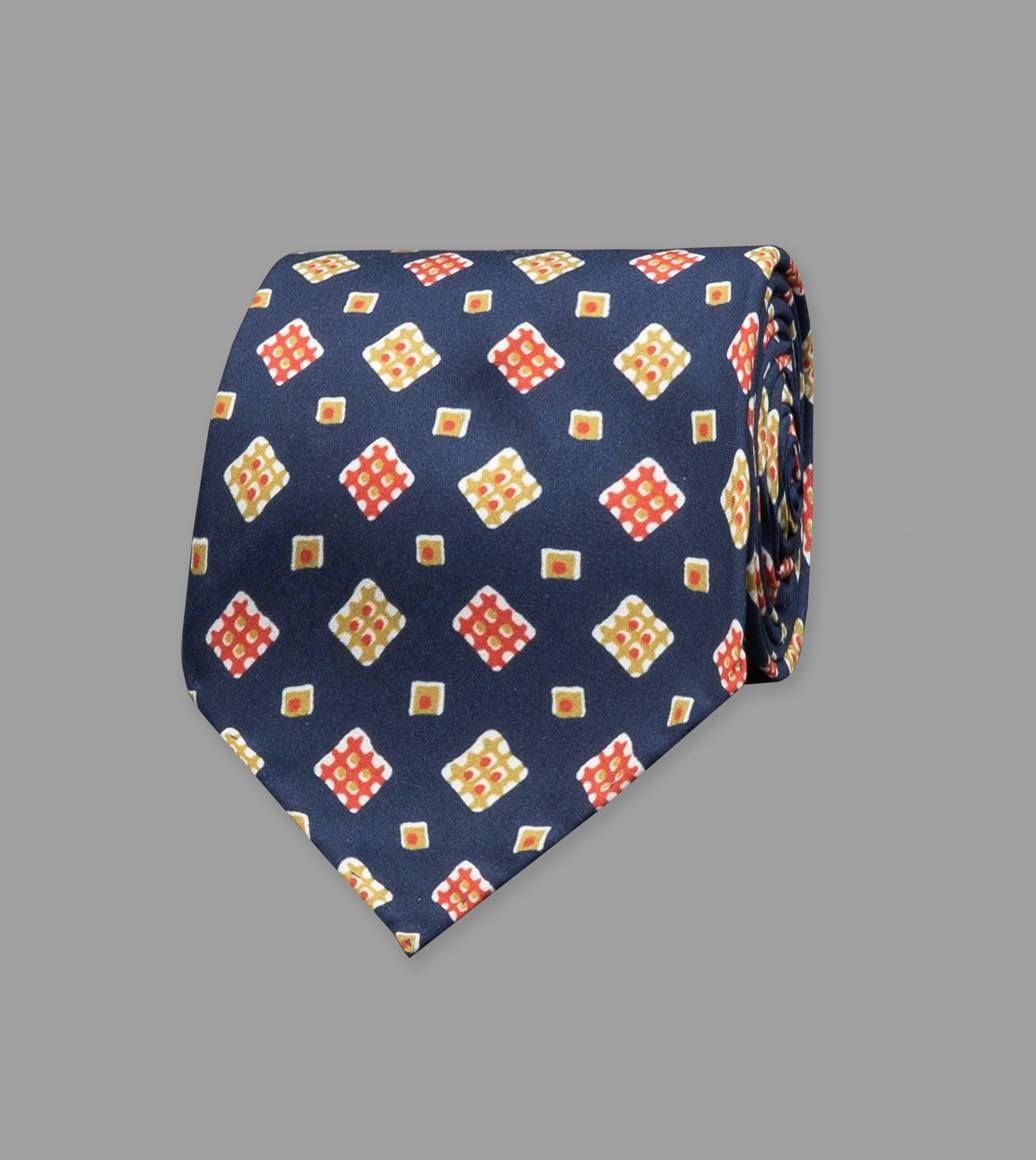Navy Waffle Square Print Silk Tie