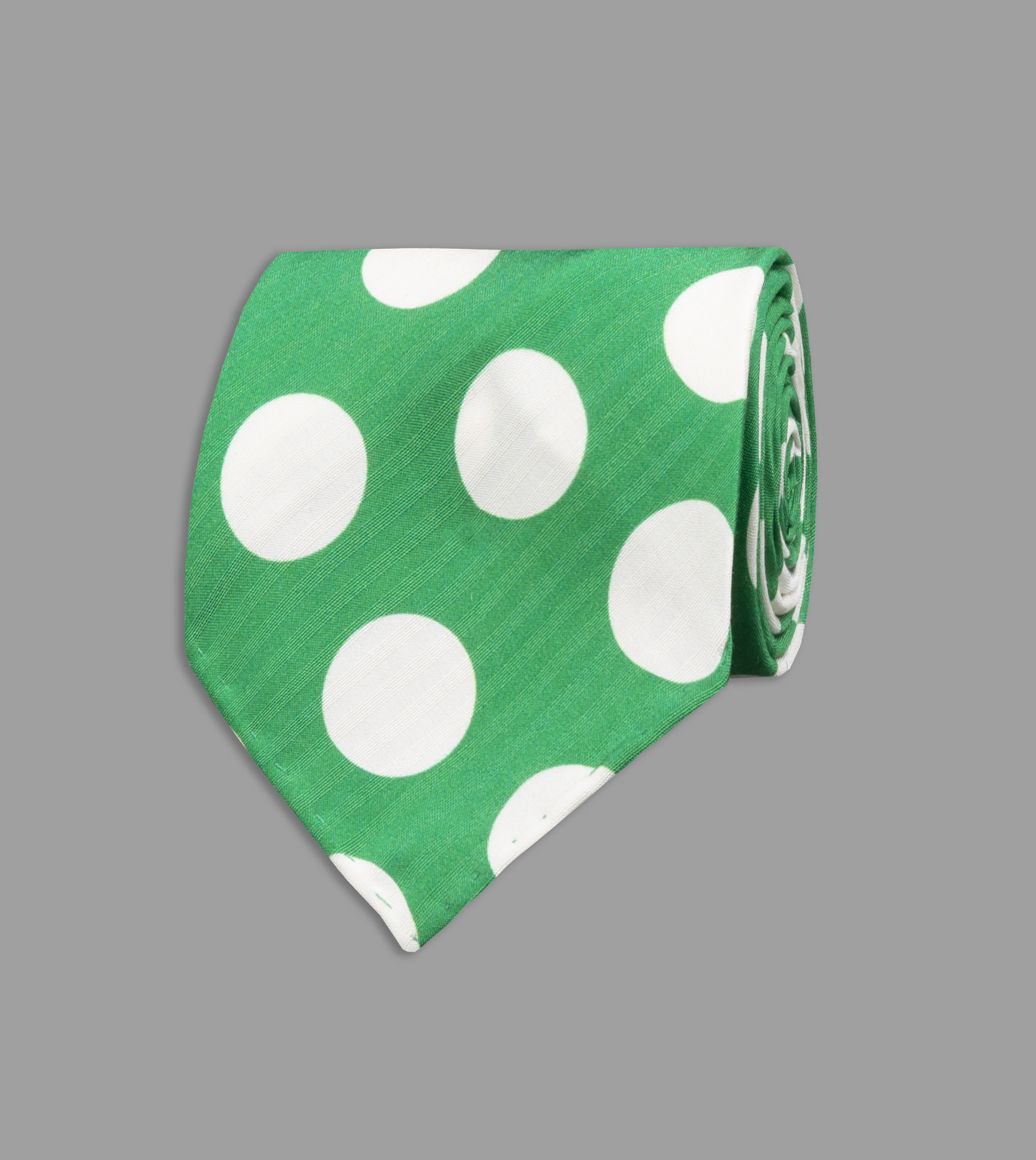 Green Spot Print Silk Seersucker Tie