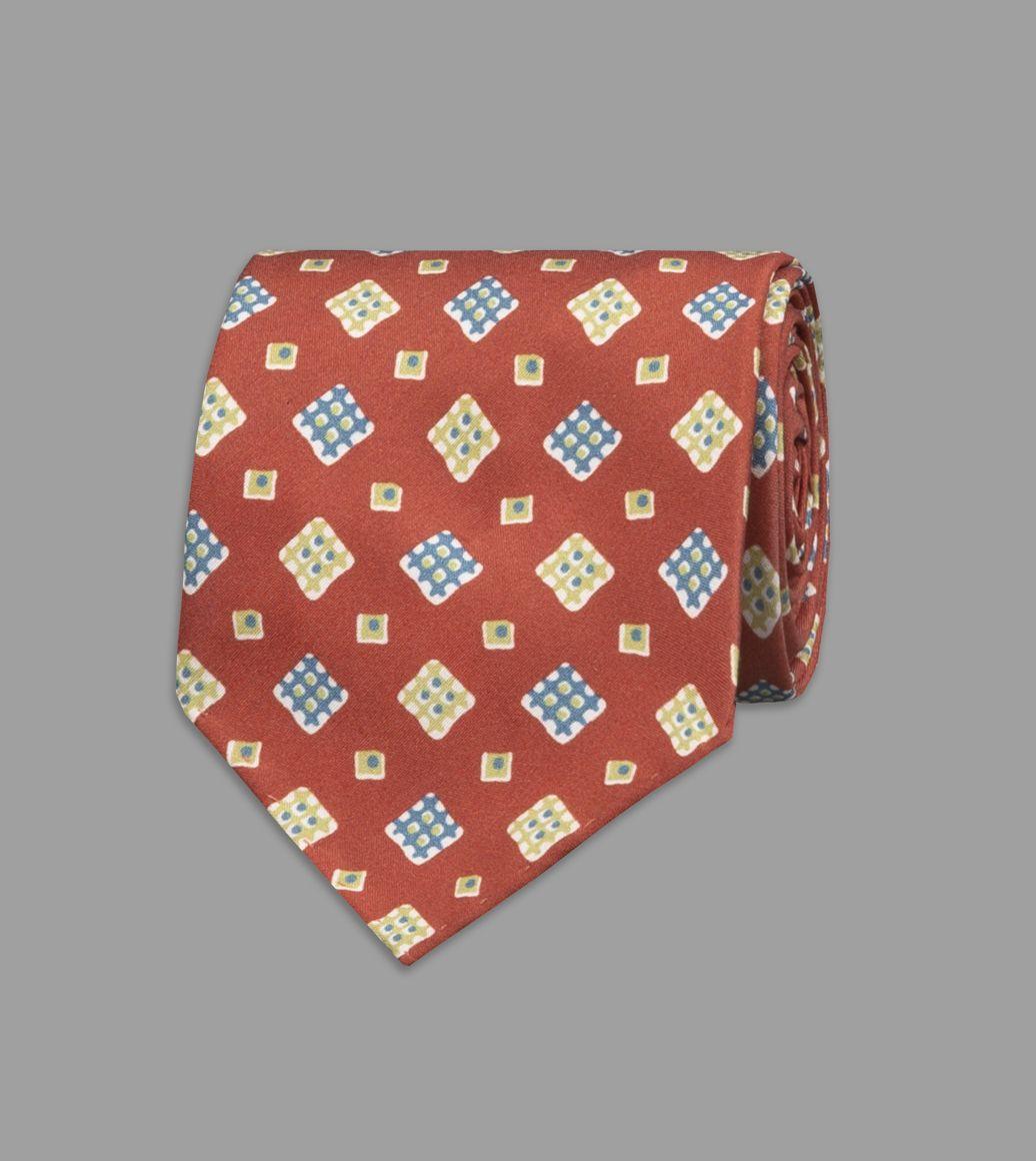 Rust Waffle Square Print Silk Tie