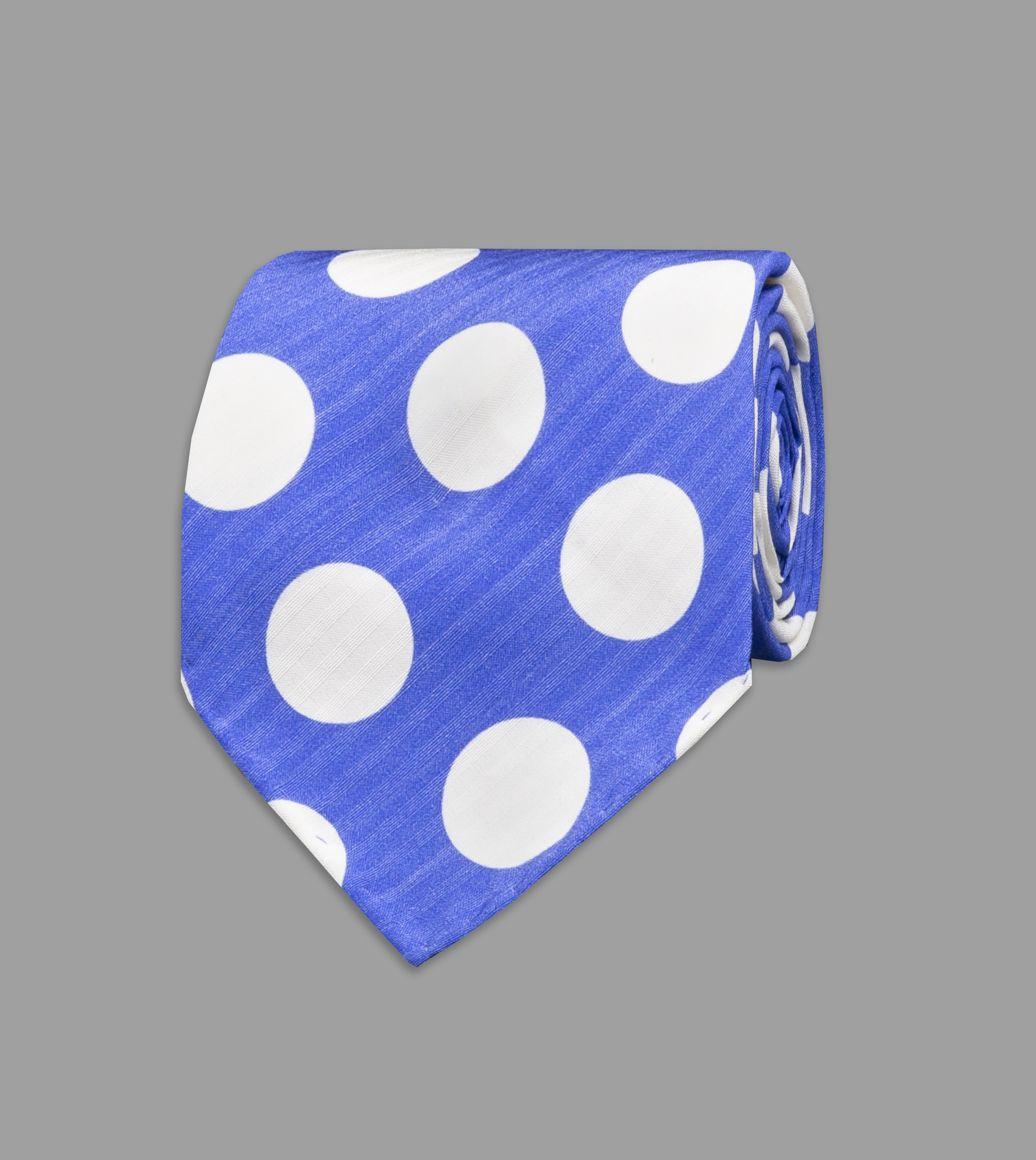 Blue Spot Print Silk Seersucker Tie
