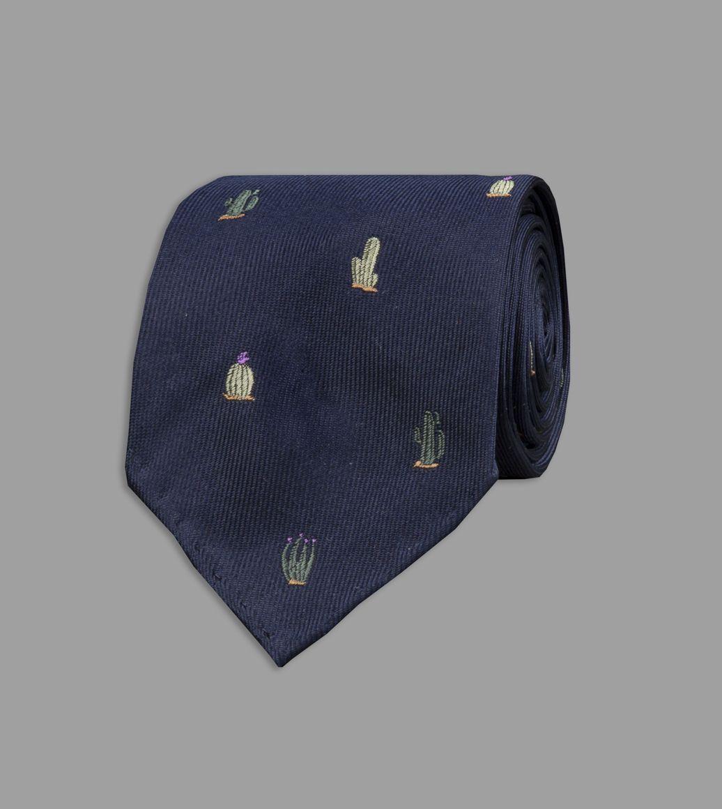 Navy Cactus Motif Silk Tie