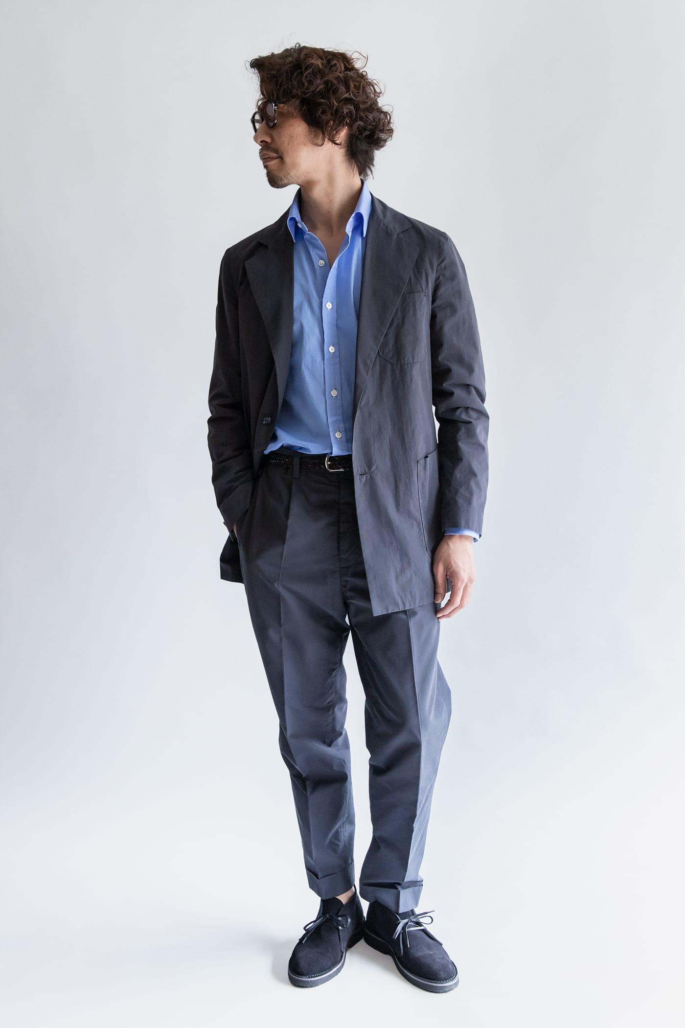 カジュアルシャツ「ブライトン」 スタイリスト四方氏 ノータイのスーツスタイルにもうってつけ